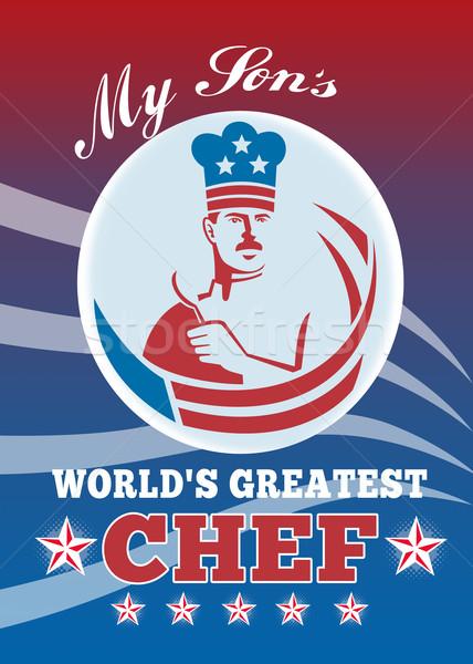 Grootst zoon chef wenskaart poster illustratie Stockfoto © patrimonio
