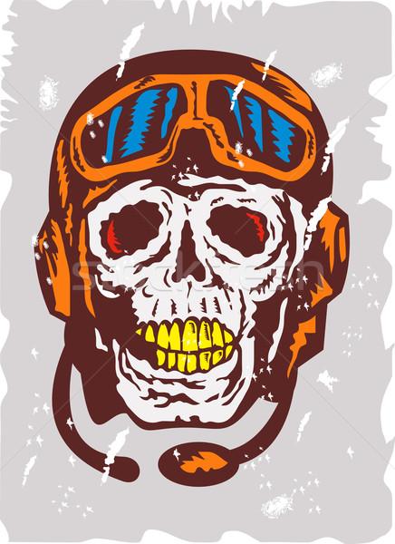 Skull Face Pilot Airman Stock photo © patrimonio