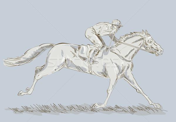 Paard jockey race winnend hand tekening Stockfoto © patrimonio
