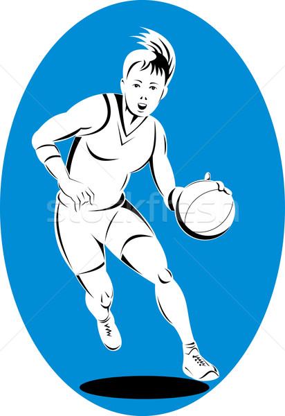 Kosárlabdázó labda illusztráció retró stílus Stock fotó © patrimonio
