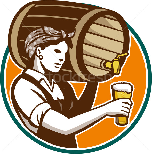 Stock photo: Woman Bartender Pouring Keg Barrel Beer Retro