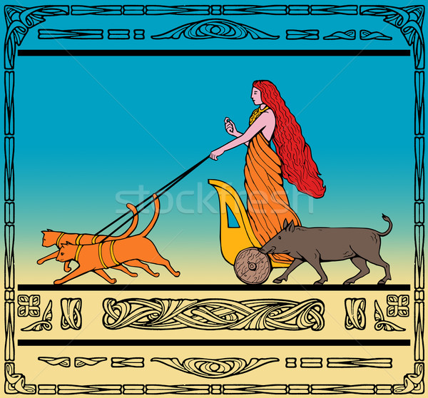 Freya Norse goddess riding chariot cat boar Stock photo © patrimonio