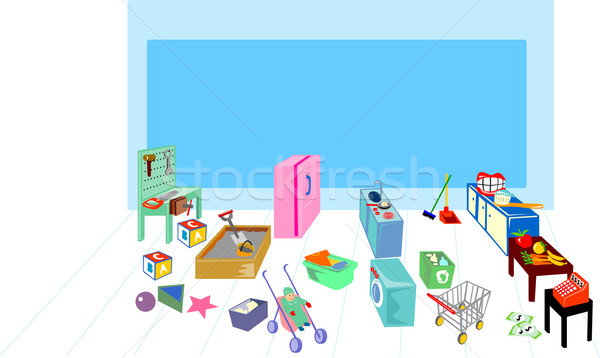 Play area showing washing, cooking, kitchen and grocery Stock photo © patrimonio