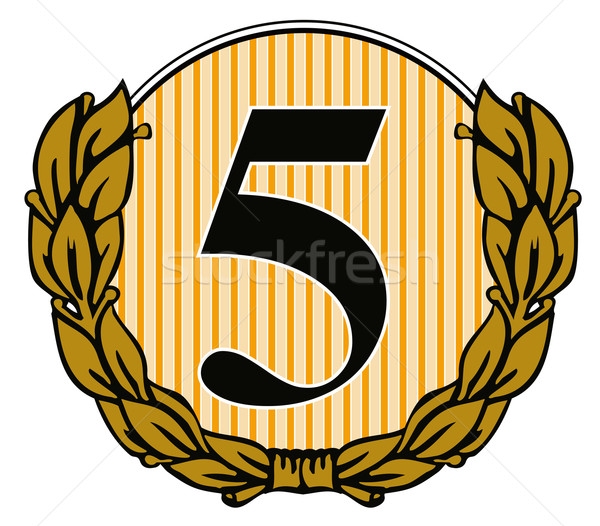 Number 5 in Circle with Laurel Leaves Stock photo © patrimonio