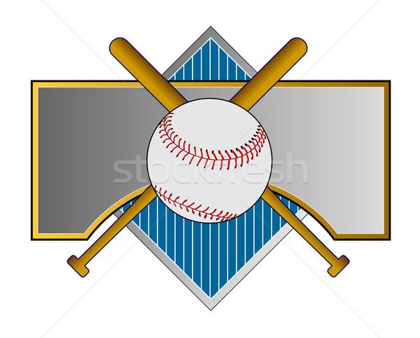Baseball ütő fém címer illusztráció szett retró stílus Stock fotó © patrimonio