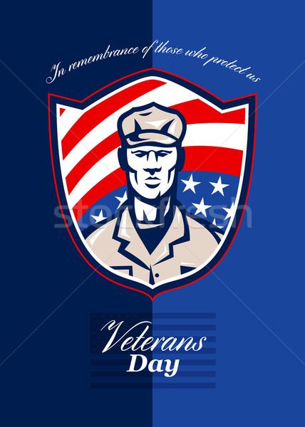 Nap modern katona üdvözlőlap retro poszter Stock fotó © patrimonio