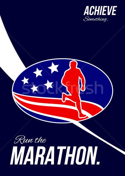 アメリカン マラソン ポスター グリーティングカード 実例 ストックフォト © patrimonio