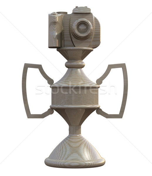 Stock photo: DSLR camera trophy or cup isolated on white
