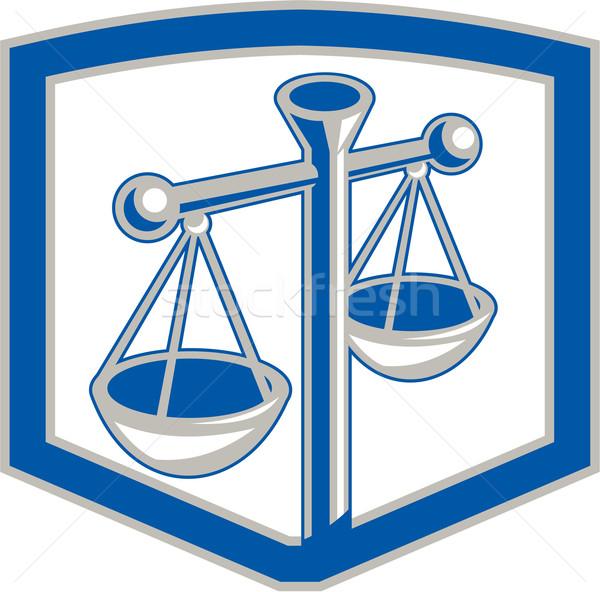 Scales of Justice Shield Retro Stock photo © patrimonio