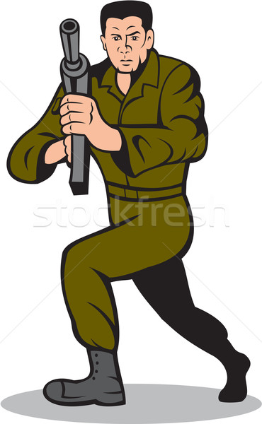 Soldier Aiming Sub-Machine Gun Cartoon Stock photo © patrimonio