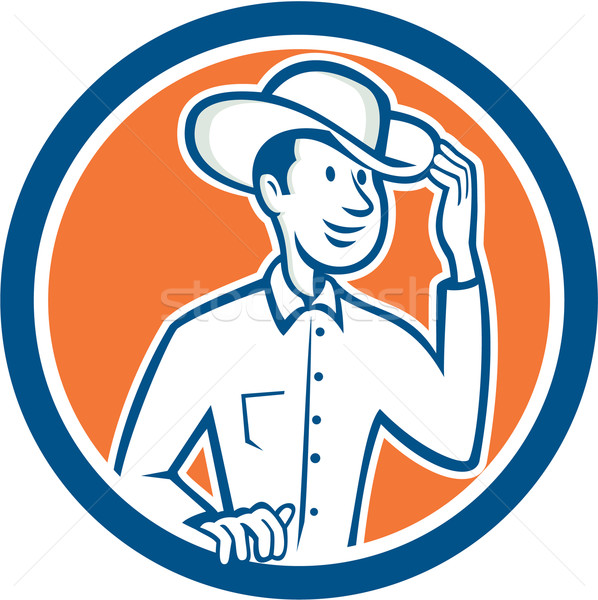 Cowboy Tipping Hat Circle Cartoon Stock photo © patrimonio