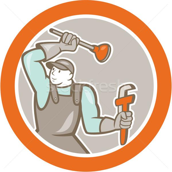 Plumber Wielding Plunger Wrench Circle Cartoon Stock photo © patrimonio