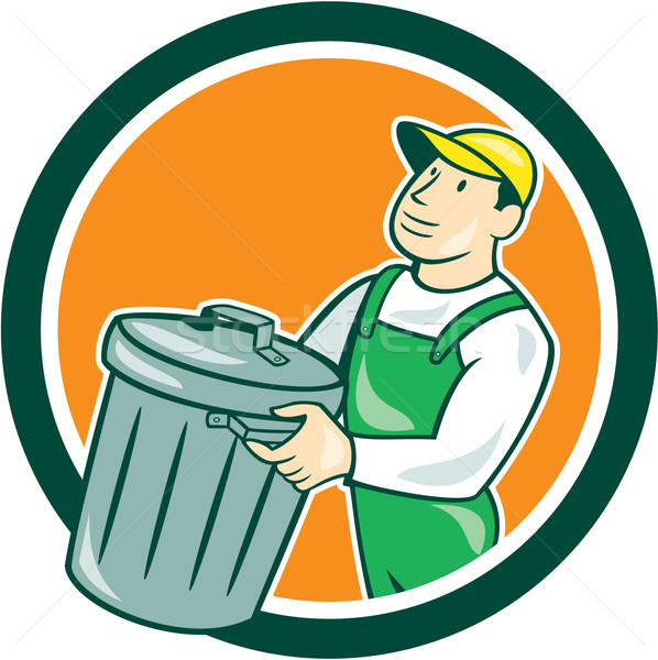Garbage Collector Carrying Bin Circle Cartoon Stock photo © patrimonio