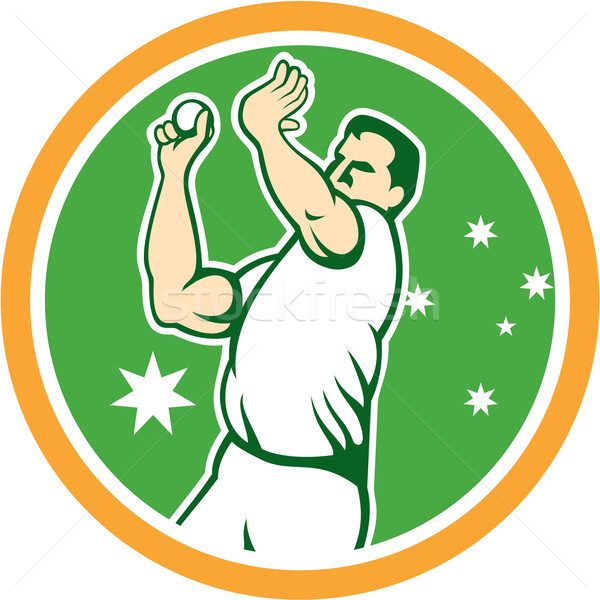 Avustralya kriket hızlı top atan oyuncu bowling topu daire Stok fotoğraf © patrimonio