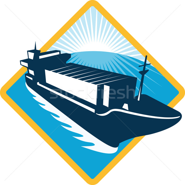Navio porta-contentores diamante retro ilustração barco navegação Foto stock © patrimonio