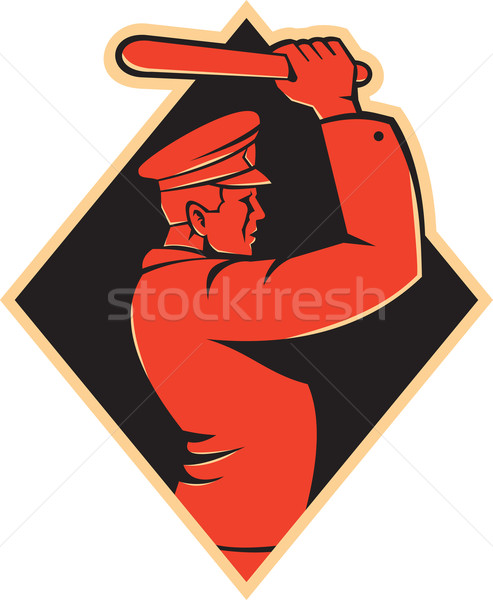 Policeman Striking Baton Nightstick Retro Stock photo © patrimonio