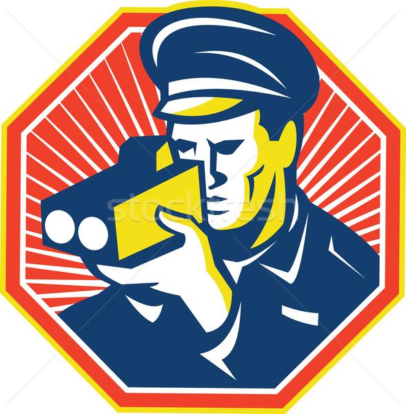 полицейский полицейский скорости камеры радар иллюстрация Сток-фото © patrimonio