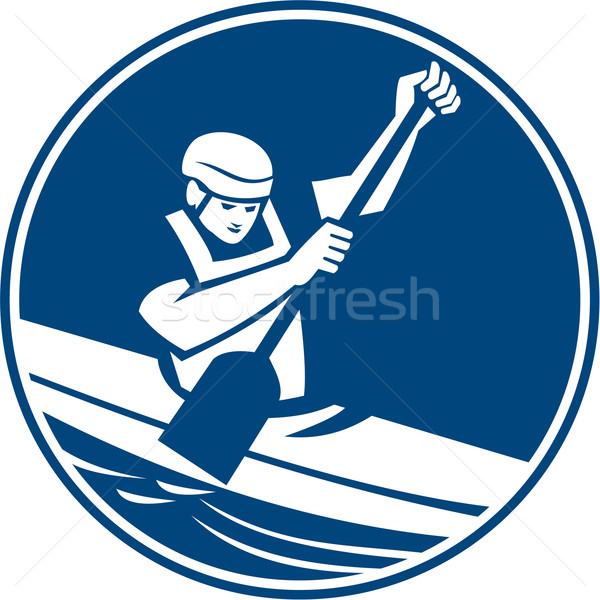 Stock photo: Canoe Slalom Circle Icon