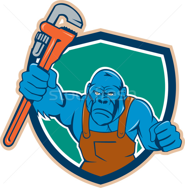 Angry Gorilla Plumber Monkey Wrench Shield Cartoon Stock photo © patrimonio