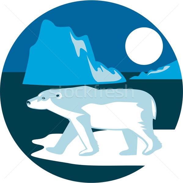 Ours polaire iceberg cercle rétro illustration marche Photo stock © patrimonio