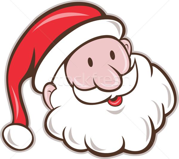 Noel Baba Baba Noel Kafa Gülen Karikatür Vektör