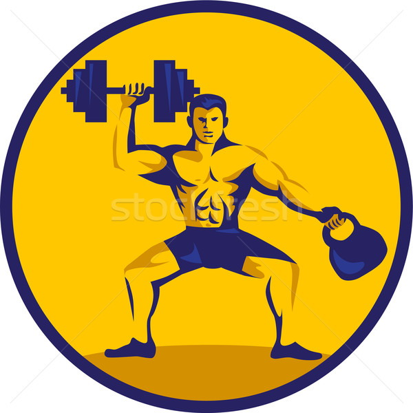 Athlete Lifting Kettlebell Dumbbell Circle Retro Stock photo © patrimonio