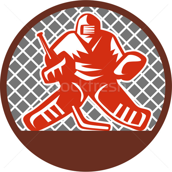 Ice Hockey Goalie Circle Retro Stock photo © patrimonio