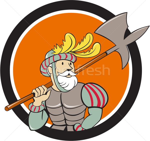 Spanish Conquistador Ax Sword Circle Cartoon Stock photo © patrimonio