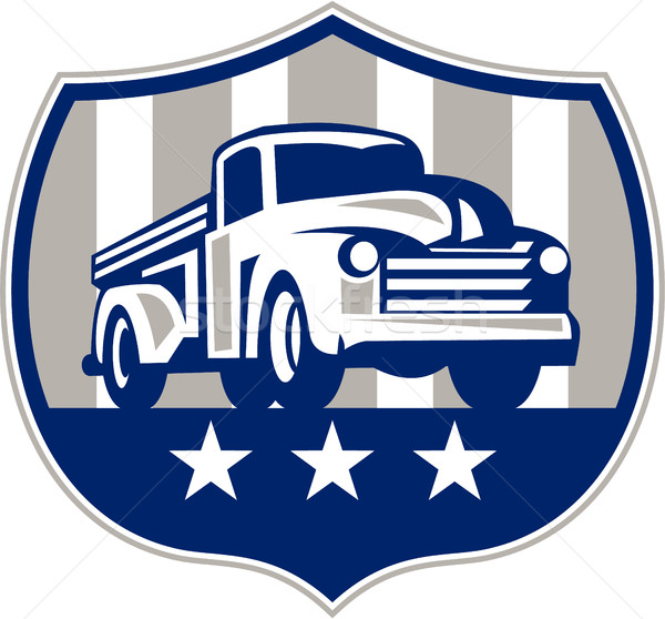 Vintage omhoog vrachtwagen USA vlag kuif Stockfoto © patrimonio