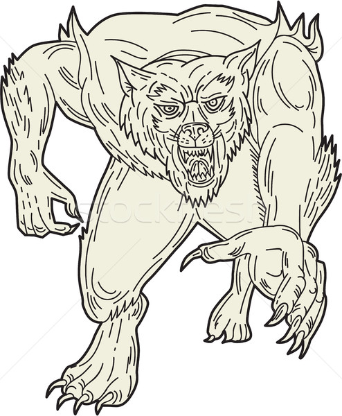 Werewolf Monster Running Mono Line Stock photo © patrimonio