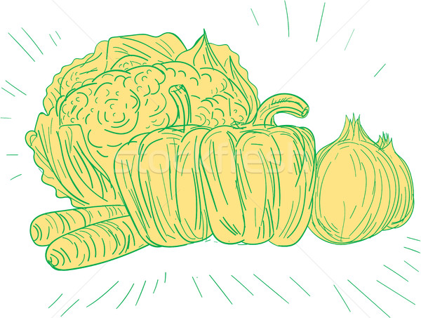 Brocolli Capsicum Onion Drawing Stock photo © patrimonio