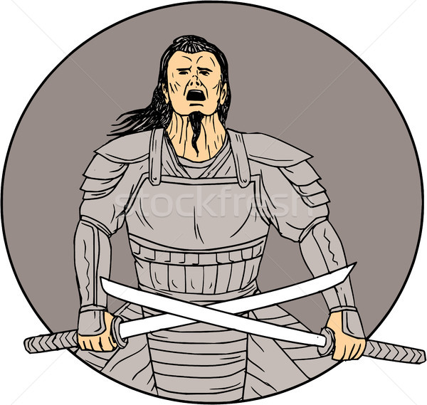 Angry Samurai Warrior Crossing Swords Oval Drawing Stock photo © patrimonio