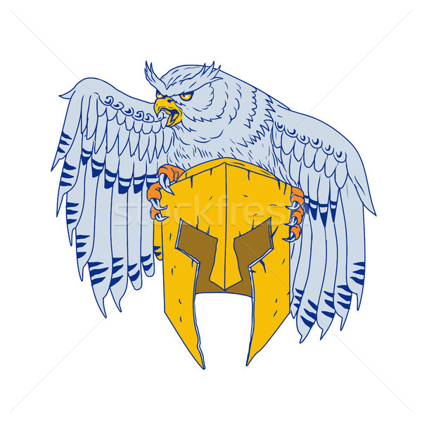 Horned Owl Clutching Spartan Helmet Drawing Stock photo © patrimonio
