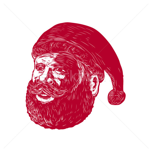 Santa Claus Head Woodcut Stock photo © patrimonio