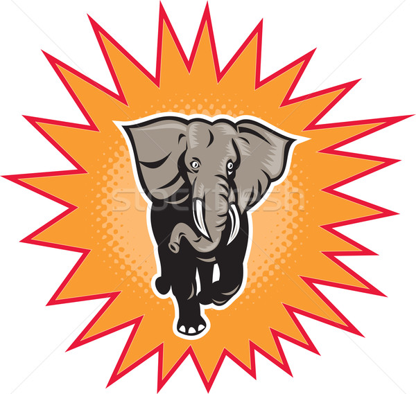Afrika fil yarım ton örnek ayarlamak içinde balon Stok fotoğraf © patrimonio