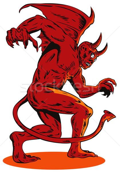 Gonosz lény szörny illusztráció piros oldalnézet Stock fotó © patrimonio