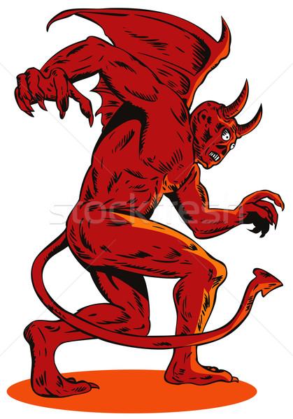 Mal criatura monstruo ilustración rojo vista lateral Foto stock © patrimonio