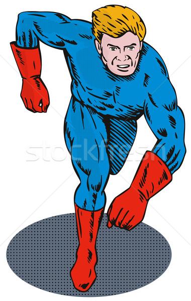 Super Hero Running Retro Stock photo © patrimonio