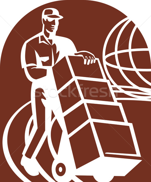 Delivery person with handcart and world global Stock photo © patrimonio