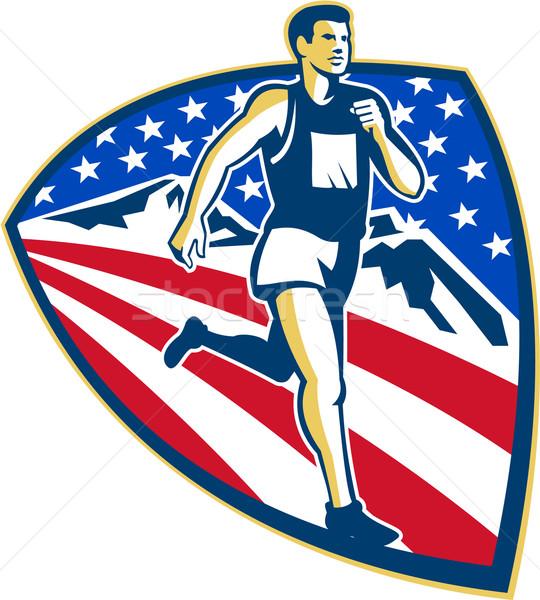 Stock photo: American Marathon Runner Running Retro