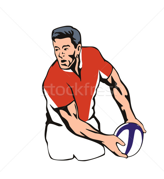 Rugby player passing ball Stock photo © patrimonio