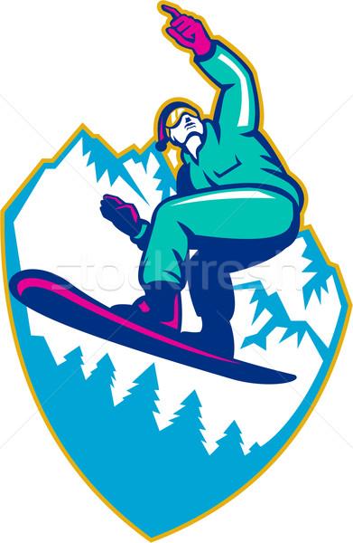 Snowboard alpen retro illustratie Stockfoto © patrimonio