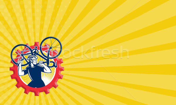 Cyclist Bicycle Mechanic Carrying Bike Sprocket Retro Stock photo © patrimonio