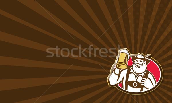 Barmann Barkeeper Retro Illustration Bier Stock foto © patrimonio