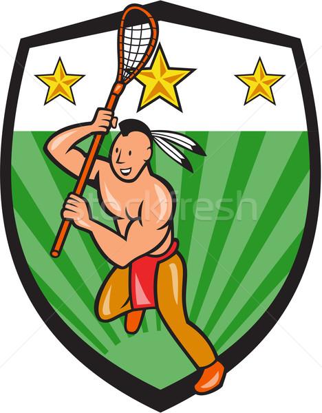 Native American Lacrosse Player Shield Stock photo © patrimonio