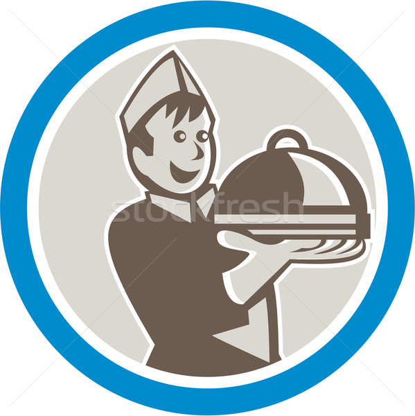 Waiter Serving Food on Platter Retro Stock photo © patrimonio