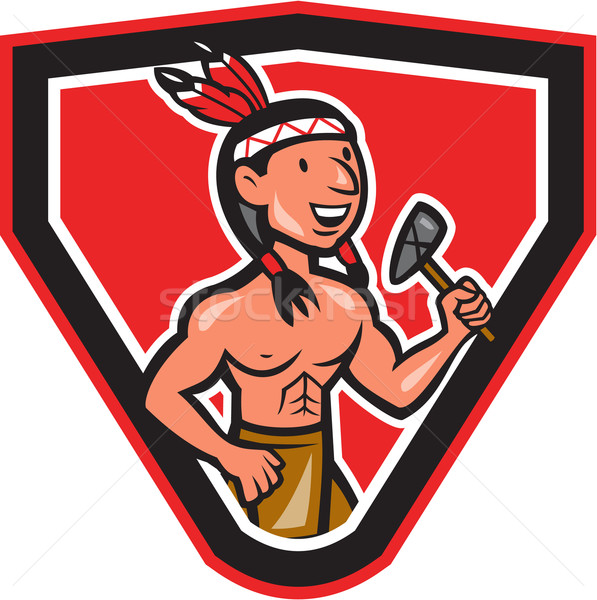 Native American Holding Tomahawk Cartoon Stock photo © patrimonio
