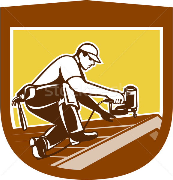 Roofer Roofing Worker Crest Shield Retro Stock photo © patrimonio