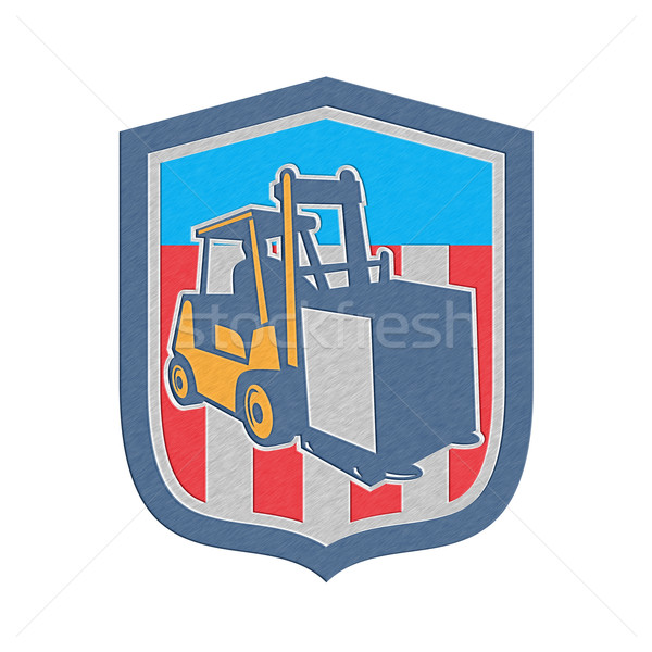 Metallic Forklift Truck Materials Logistics Shield Retro Stock photo © patrimonio