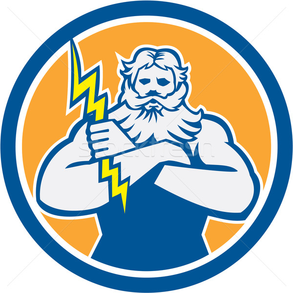 Zeus Greek God Arms Cross Thunderbollt Circle Retro Stock photo © patrimonio